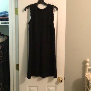 Ann Taylor Size 10 Black Tweed Dress with Fringe.